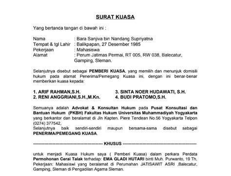 surat kuasa cerai talak 1 contoh surat edukasi