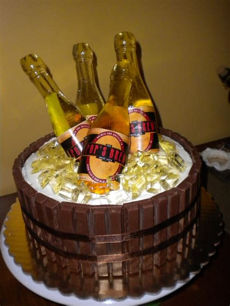 beer barrel cake beer barrel cake with poured sugar bottles and ice