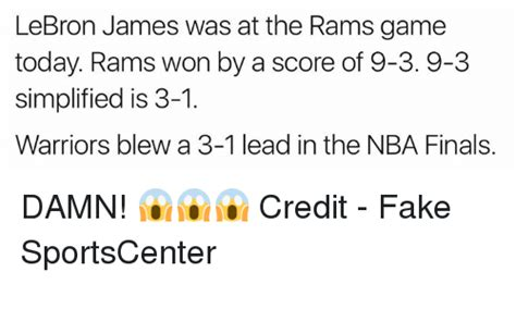 score of the rams today lebron was at the rams today rams won by a