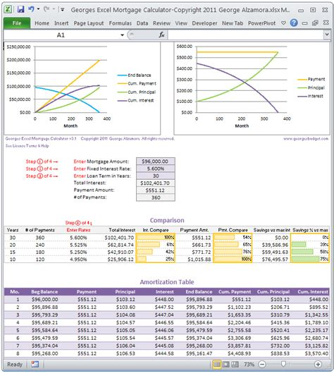 mortgage calculator and amortization table excel templates