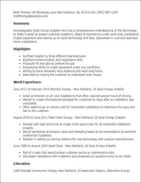 Solar Thermal Installer Sle Resume by Save Changes