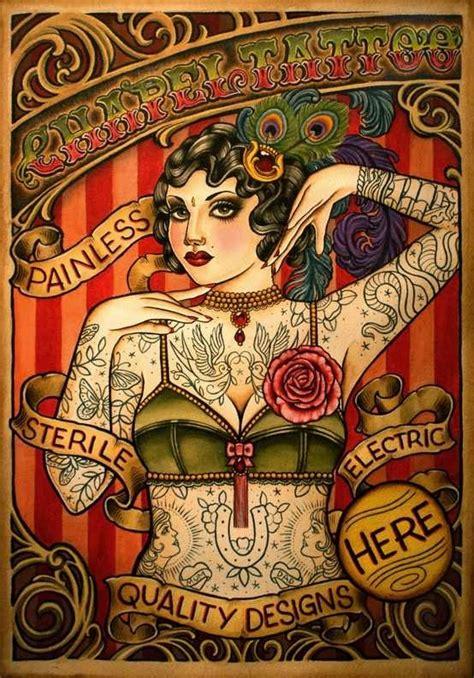 tattoo parlor prints vintage retro circus ad art poster print postcard ღ