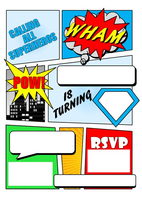 comic birthday card template make your own comic book printable comic book