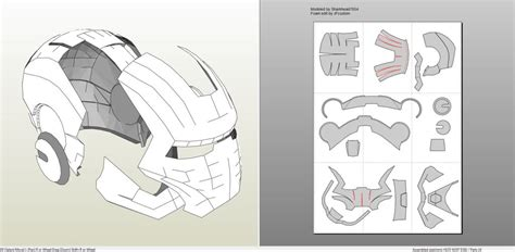 tutoriel latex head papercraft pdo file template for iron man mark 2 full