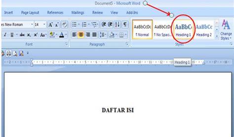 membuat daftar isi ms word 2010 man jadda wajada cara mudah membuat daftar isi di word 2007