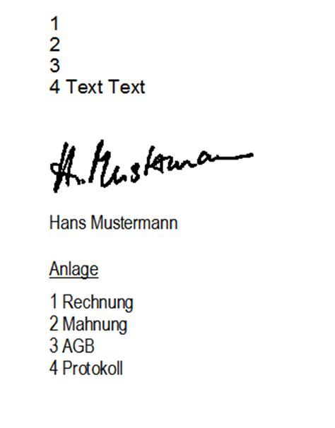 Offizieller Brief Mit Anlagen text anlage en in briefen stammdaten office orgamax