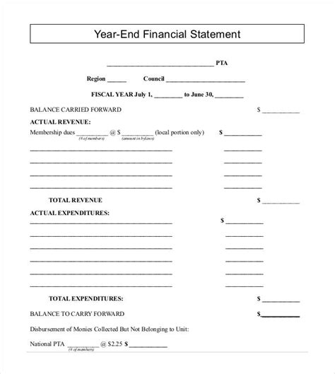 business financial statement template excel financial statement