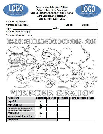 examen de tercero de primaria 2016 2017 examen de diagn 243 stico del tercer grado para el ciclo