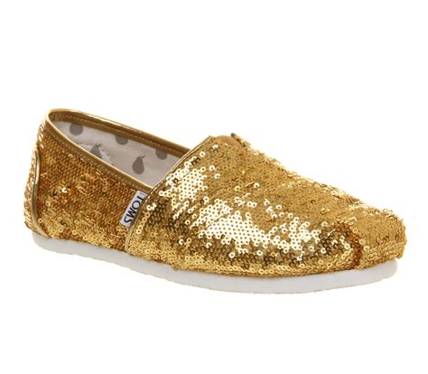 gold sequin shoes flats womens toms seasonal classic slip on gold sequin exclusive