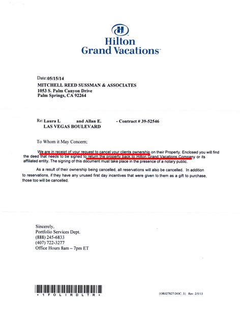 Cancellation Holidays Letter Grand Vacations Timeshare Cancellation Cancel Your Timeshare Contract