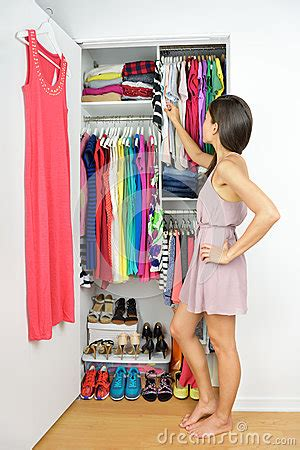 home closet choosing fashion clothing stock