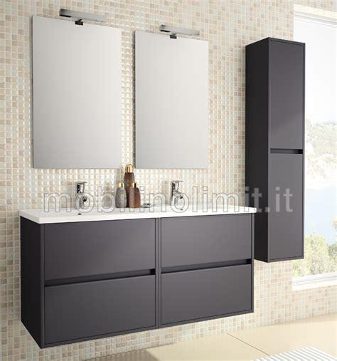mobile bagno doppio mobile bagno sospeso con doppio lavabo l 120 grigio opaco