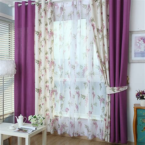 floral bedroom curtains white and purple color block floral print linen cotton
