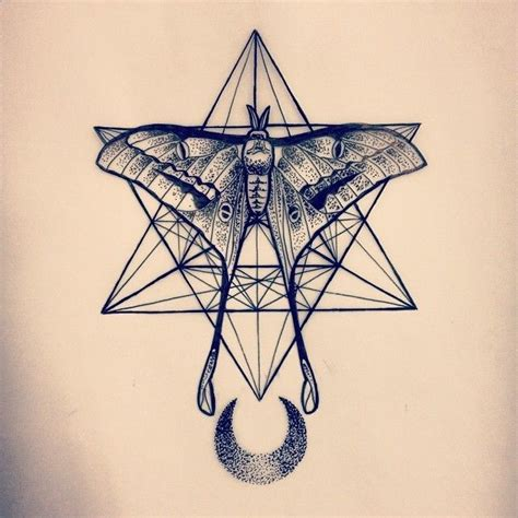 sacred geometry crescent moon moth tattoo by amber jane