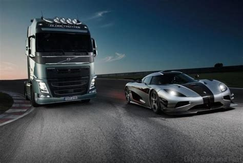volvo track my order koenigsegg one 1 vs volvo fh truck drive safe and fast