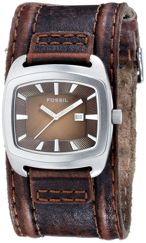 new fossil wide brown leather band silver tone