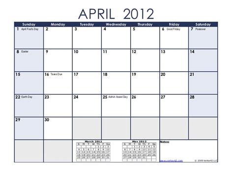 April 2012 Calendar 2012 Calendar