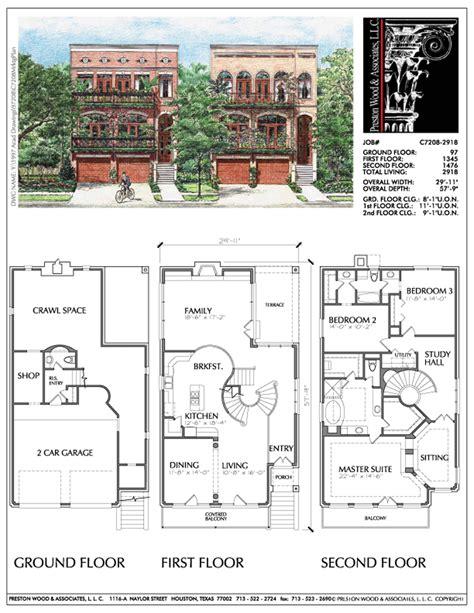 urban townhouse floor plans urban home plan c7208 home floorplans pinterest