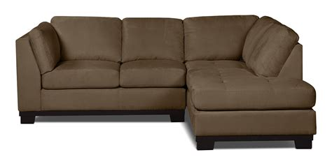 the brick sectionals oakdale 2 piece microsuede right facing sectional cocoa