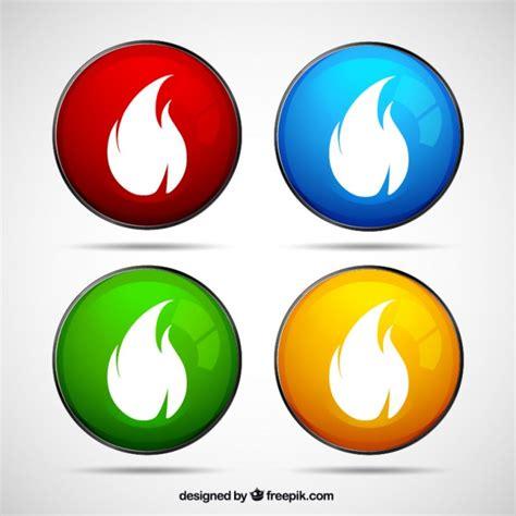 imagenes vectores para illustrator gratis botones de colores con las llamas de fuego descargar