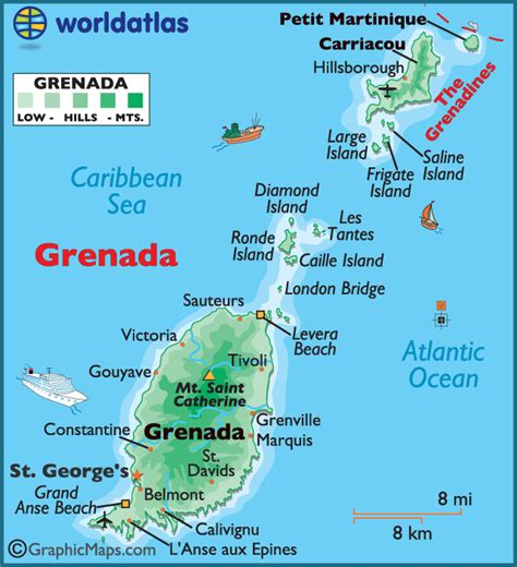 where is grenada on a map grenada large color map