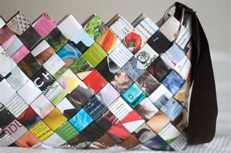 Paper From Magazines - diy woven paper bag sac en magazine
