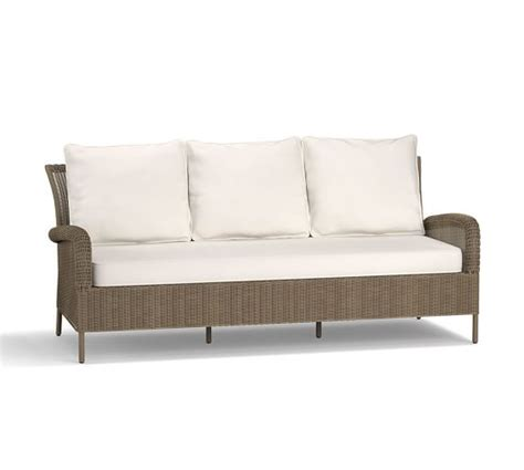 all weather wicker sectional georgia all weather wicker sofa natural pottery barn