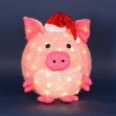 best lighted pig yard art 30 quot lighted pre lit pink pig on skis outdoor yard decor my for