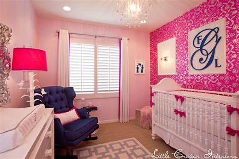 Pink And Navy Nursery Decor Glam Pink Nursery By Crown Interiors