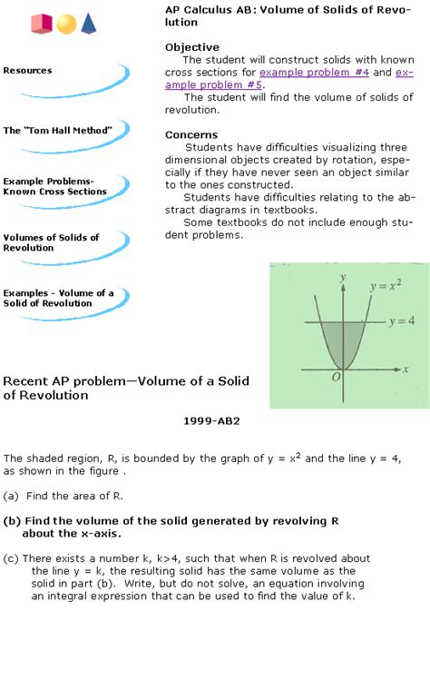 volume of a solid with known cross sections volumes of solids of revolution