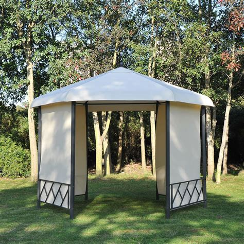 outsunny φ11 5 metal hexagon patio gazebo garden pavilion
