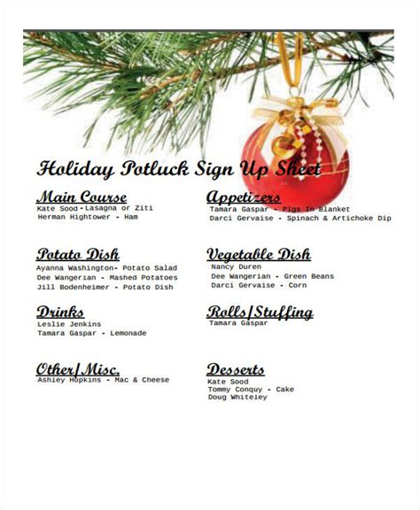 doc 463620 holiday sign up sheet templates sign up