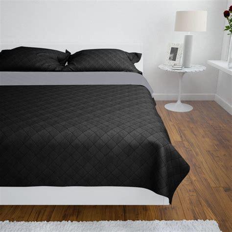 copriletto nero copriletto reversibile nero grigio 230 x 260 cm vidaxl it