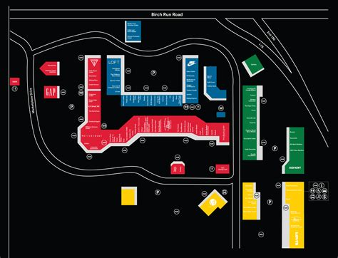 outlet mall map complete list of stores located at birch run premium