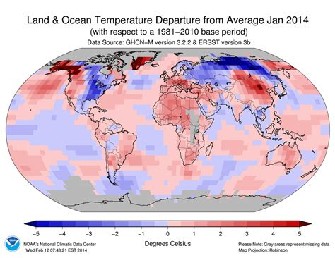 average january temperature world map global climate report january 2014 state of the