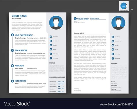 Two Page Resume by Professional Cv Resume Template Of Two Pages Vector Image