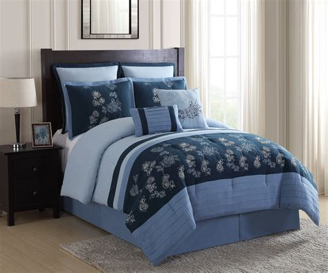 essential home 8 piece comforter set floral blue home
