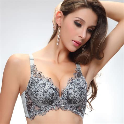 Bra Set With Fmn Aissa Print Color Grey butterfly embellished plunge push up bras grey bras bra sets intimates top 1