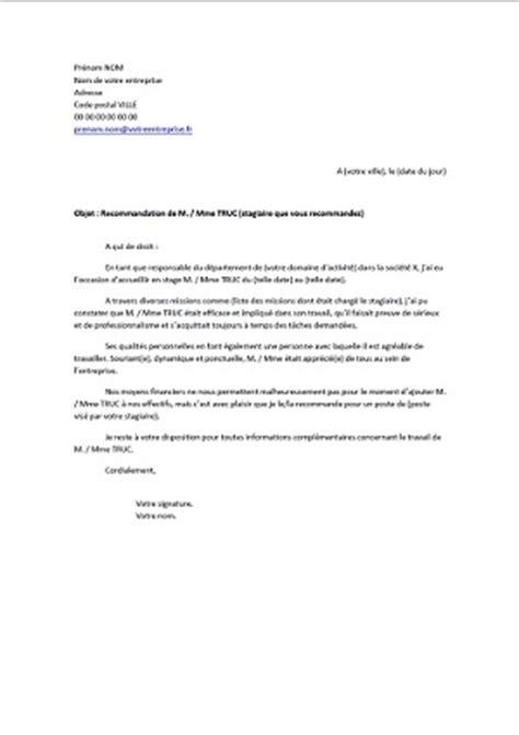 Exemple Lettre De Recommandation Hotellerie lettre de recommandation apr 232 s un stage exemples de cv