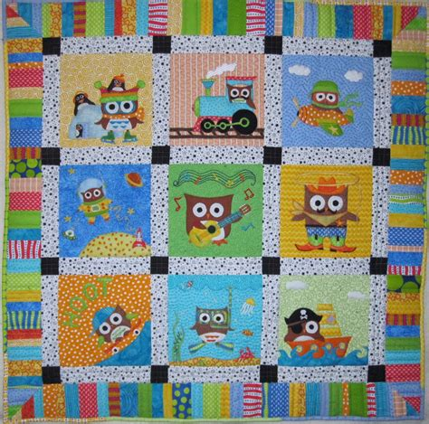 baby boy owl quilt completed