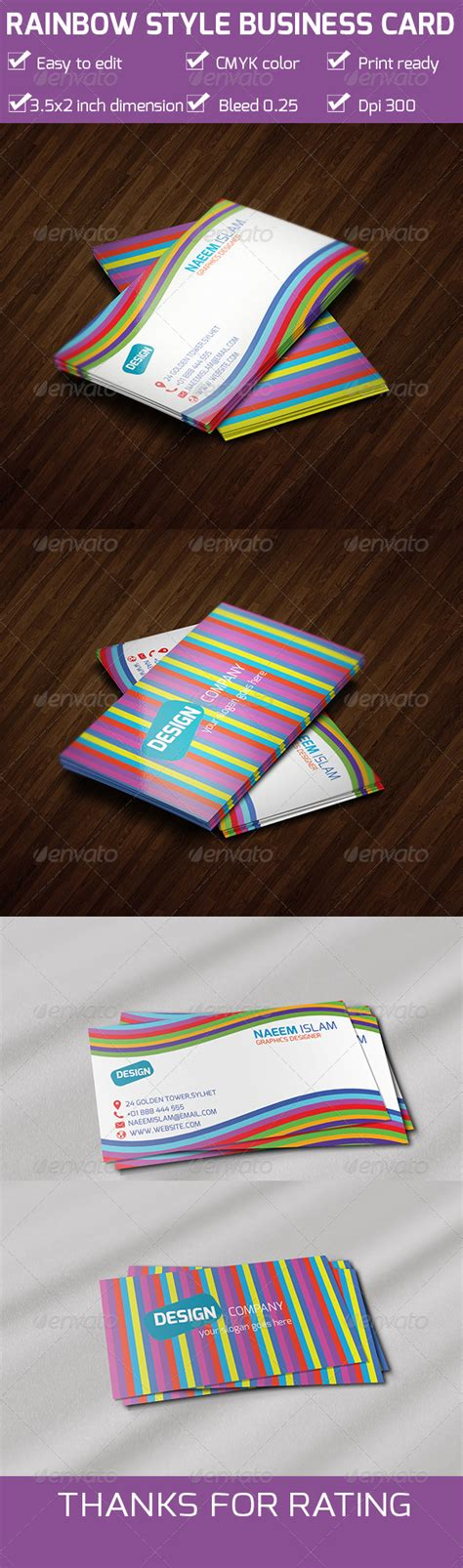 rainbow business card template print template graphicriver rainbow style business card