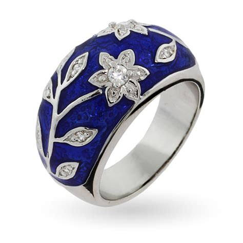 design flower ring royal blue enamel ring with vintage cz flower design eve