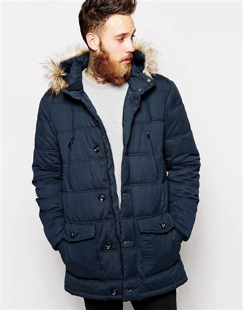 Quilted Parkas by Asos Quilted Parka Jacket Mens Gladiator Sandals