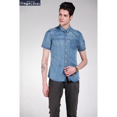 Hem Corta Khakis Kemeja Busana Atasan Fashion Pria jual baju denim newhairstylesformen2014