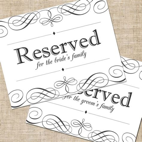 reserved seating signs template printable diy wedding reserved seating sign for tables or