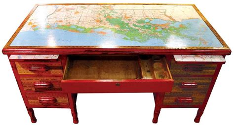 Map Desk by Unique Map Themed Projects And Makeovers To Try At Home