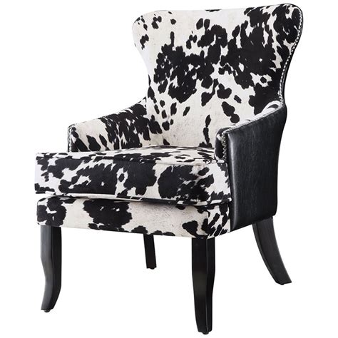 Black And White Cowhide Chair - coaster cowhide print accent chair in black and white 902169