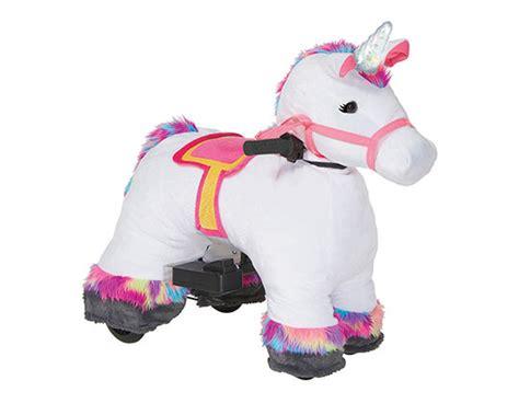 unicorn 6v plush ride on the toy insider
