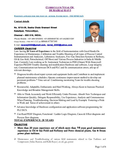 Instrument Technician Sle Resume by Instrument Technician Resume Exles 28 Images Resume Sles Instrumentation Technician Resume