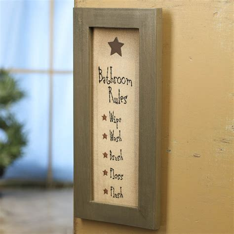 bathroom signs for the home primitive quot bathroom rules quot wood framed stitched sign signs ornaments home decor